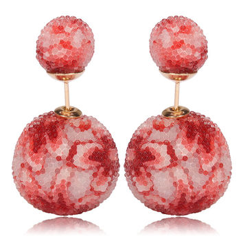 Italian Import Gum Tee Mise en Style Tribal Double Bead Earrings - Micro Bead Red Flower Design