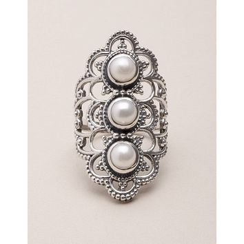 Pearl Antique Silver Ring - Size 10