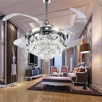 Modern Retractable Chrome Crystal Fan Chandelier