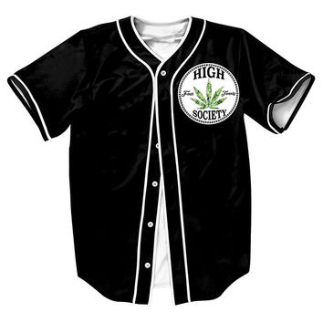 Mens Black 3D Shirts Casual With Button Overshirt High Society Jersey Streetwear