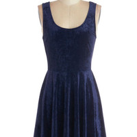 ModCloth Vintage Inspired Mid-length Tank top (2 thick straps) Velvet, If You Please Dress in Deep Sapphire