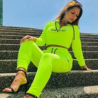 Suede casual sweater suit rope knot letter printing zipper cropped sweater pants flourescent green