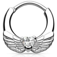 16G - 14G Angel Wing Clear CZ Gem Brass Septum Clicker