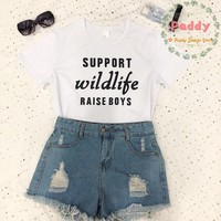OKOUFEN Support wildlife raise boys shirt women tshirt graphic tee gift for mom tumblr unisex fashion clothing Tshirt tees tops