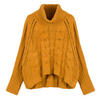 Yellow High Neck Chunky Cable Long Sleeve Sweater