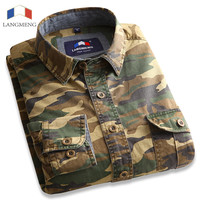 Camouflage Shirt 100% Cotton Long Sleeve Army Green