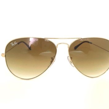 New Ray Ban RB3025 Aviator Gold Brown Gradient Frame Sunglasses 58mm 001/51