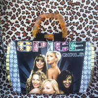 SPICE GIRLS - Upcycled Rock Band T-shirt Quilted Hand Bag- OoAK