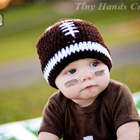 LET'S PLAY Some FOOTBALL Baby Hat /0 - 3 months (Ready to Ship)