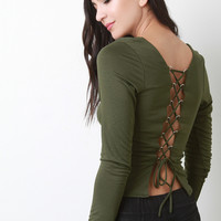 Corset Lace-Up Back Crop Top