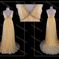 Custom Dress straps yellow chiffon with Beads and sequins dress evening dress for 2014 prom dress