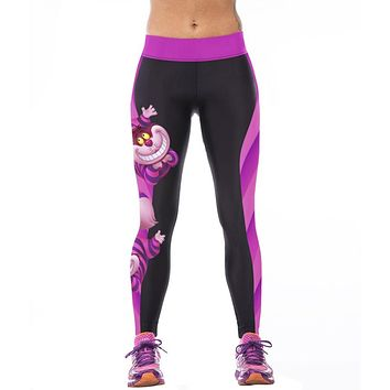 2017 Sexy Girl Women Alice in Wonderland Cheshire cat 3D Prints High Waist Workout Fitness Leggings Pants