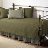 5-Piece Daybed Bedding Set in Dark Green Aloe Color