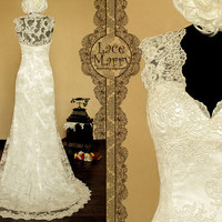 Transparent Lace Back Wedding Dress with a Deep Slit on the Front and Deep V-Neckline with Scalloped Edges