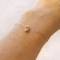 Rose gold skull bracelet - tiny skull bracelet in rose gold