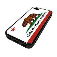 For Apple Iphone 5 or 5s Cute Phone Cases for Girls California Native Local Flag Cali Design Cover Skin Black Rubber Silicone Teen Gift Vintage Hipster Fashion Design Art Print Cell Phone Accessories