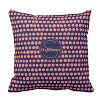 Navy and pink Polka Dot Pattern Monogrammed Throw Pillow