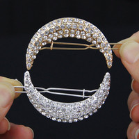 1pcs Newest Crystal Moon Rhinestone Hair Accessories For Women Hair Clips For Girls Headdress Hairpin Clamps