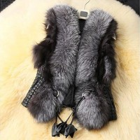 Women's Short Design Female Fox Fur Vest Leather Vest Outerwear Women Coat VVF [8805153415]