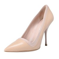 Miu Miu Women's Olive Leather High Heel Pointy Toe Pumps Shoes US 10 IT 40