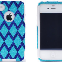 Otterbox iPhone 4 Case - iPhone 4 Otterbox Cover - Custom Diamond Chevron Pattern Case Glitter Frost/Marine for iPhone 4S - iPhone 4S Cover