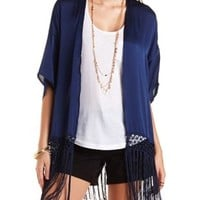 Washed Satin Fringe Kimono Top by Charlotte Russe