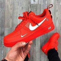 NIKE AIR FORCE 1 AF1 OW Running Sport Shoes Sneakers red DCCK