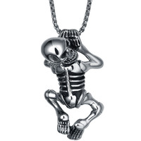 Stainless Steel Gothic Climbing Skeleton Pendant Necklace