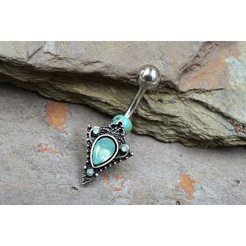Green Opalite Tribal Shield Belly Button Ring