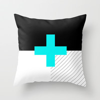 Neon Cross (Blue) // Neon Plus (Blue) Throw Pillow by Pencil Me In ™