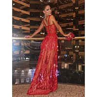 Melania Elegant Strap Lace Red Maxi dress