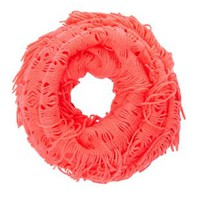 Fringed Open Knit Infinity Scarf by Charlotte Russe - Neon Coral