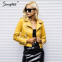 Simplee Embroidery leather jacket