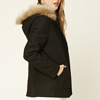 Hooded Faux Fur Zippered Jacket