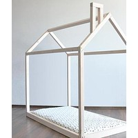 Sophia House Frame Floor Bed with Chimney