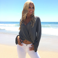Urban Wrap Blouse In Charocal Grey