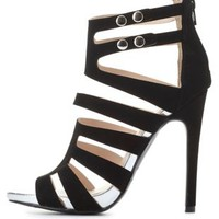 Qupid Strappy Caged Heels by