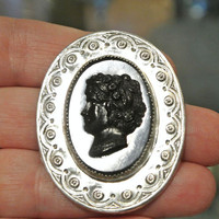 Coro Sterling Brooch Jet Black Faux Cameo Antique Mourning Jewelry 1940s 40s War Era Jewelry Designer Early Signed Script Coro Brooch Silver