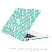 "TopCase Quatrefoil / Moroccan Trellis Hot Blue Ultra Slim Light Weight Rubberized Hard Case Cover for Macbook Air 11"" Model: A1370 and A1465"