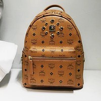 MCM Backpack Women Men Bag Shoulder School Bag Backpack B-LLBPFSH Brown