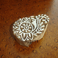 Flower and Leaf Stamp: Hand Carved Wood Printing Block, Handmade Wooden Block Stamp, Indian Stamp, for Textiles, Crafts, Ceramics, Pottery
