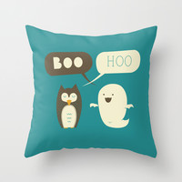 Boo Hoo Throw Pillow by AGRIMONY // Aaron Thong