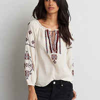 AEO Embroidered Peasant Top , Cream