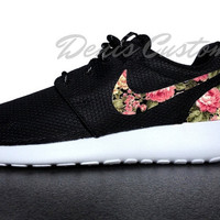 Nike Roshe Run One Black with Custom Pink Floral Print