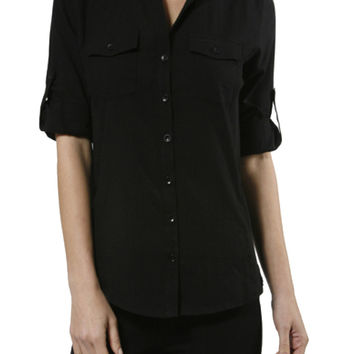 3/4 Sleeve Cotton Button Down Blouse