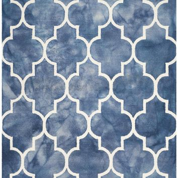 Dip Dye Contemporary Indoor Area Rug Navy / Ivory