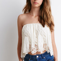 Crochet-Paneled Chiffon Top