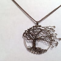 Tree Of Life Necklace Wind Sweep Brown Wire On Matching Chain Wire Wrapped Wedding Jewelry November Birthstone Jewelry