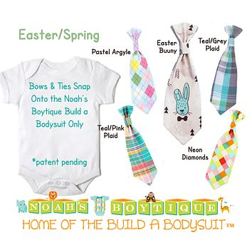 Easter Spring Snap On Ties and Bow Ties by Noah's Boytique