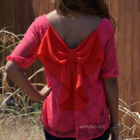 Charlotte Lace Coral Crochet Bow Back Top